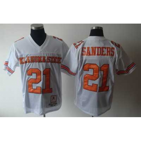NCAA Oklahoma State Cowboys 21 Barry Sanders White NCAA Jerseys
