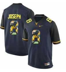 West Virginia Mountaineers #8 Karl Joseph Navy With Portrait Print College Football Jersey2