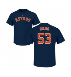 MLB Nike Houston Astros #53 Ken Giles Navy Blue Name & Number T-Shirt