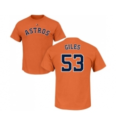 MLB Nike Houston Astros #53 Ken Giles Orange Name & Number T-Shirt