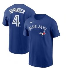 Men's Toronto Blue Jays #4 George Springer Nike Royal Name & Number T-Shirt