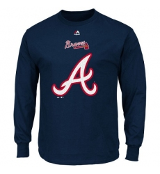 MLB Atlanta Braves Majestic Critical Victory Long Sleeve T-Shirt - Navy