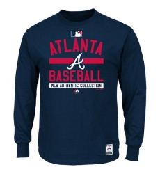 MLB Atlanta Braves Majestic Men's Authentic Collection Team Property Long Sleeve T-Shirt - Navy