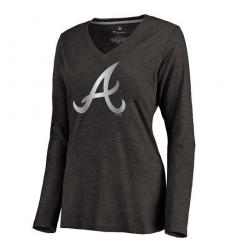 MLB Atlanta Braves Women's Platinum Collection Long Sleeve V-Neck Tri-Blend T-Shirt - Grey