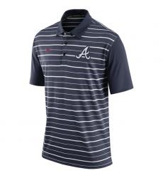 MLB Men's Atlanta Braves Nike Navy Dri-FIT Stripe Polo