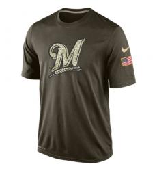 MLB Men's Milwaukee Brewers Nike Olive Salute To Service KO Performance T-Shirt