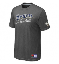 MLB Men's Milwaukee Brewers Nike Practice T-Shirt - Dark Grey