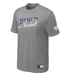 MLB Men's Milwaukee Brewers Nike Practice T-Shirt - Grey