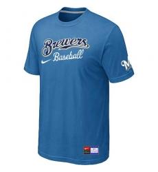 MLB Men's Milwaukee Brewers Nike Practice T-Shirt - Light Blue