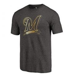 MLB Milwaukee Brewers Fanatics Apparel Gold Collection Tri-Blend T-Shirt - Grey