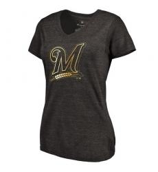 MLB Milwaukee Brewers Fanatics Apparel Women's Gold Collection V-Neck Tri-Blend T-Shirt - Grey