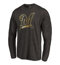 MLB Milwaukee Brewers Gold Collection Long Sleeve Tri-Blend T-Shirt - Grey
