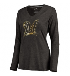 MLB Milwaukee Brewers Women's Gold Collection Long Sleeve V-Neck Tri-Blend T-Shirt - Grey
