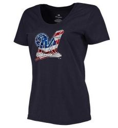 MLB Women's Milwaukee Brewers Navy Banner Wave Slim Fit T-Shirt