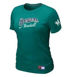 MLB Women's Milwaukee Brewers Nike Practice T-Shirt - Auqe Green