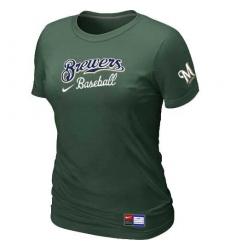 MLB Women's Milwaukee Brewers Nike Practice T-Shirt - Dark Green