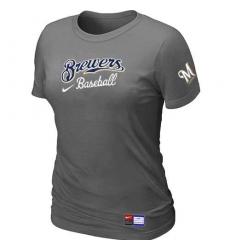 MLB Women's Milwaukee Brewers Nike Practice T-Shirt - Dark Grey