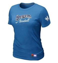MLB Women's Milwaukee Brewers Nike Practice T-Shirt - Light Blue