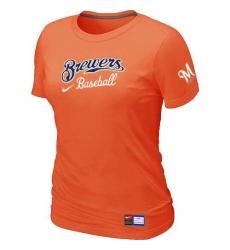 MLB Women's Milwaukee Brewers Nike Practice T-Shirt - Orange