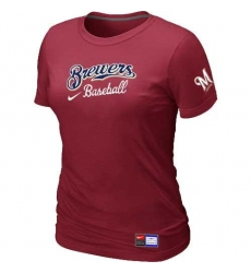 MLB Women's Milwaukee Brewers Nike Practice T-Shirt - Red