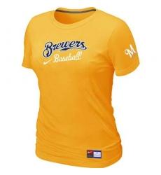 MLB Women's Milwaukee Brewers Nike Practice T-Shirt - Yellow
