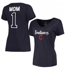 MLB Cleveland Indians Women's 2017 Mother's Day #1 Mom V-Neck T-Shirt - Navy