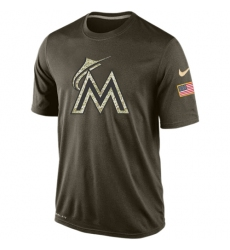 MLB Men's Miami Marlins Nike Olive Salute To Service KO Performance T-Shirt