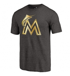 MLB Miami Marlins Fanatics Apparel Gold Collection Tri-Blend T-Shirt - Grey