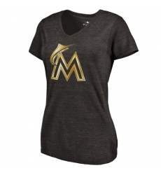 MLB Miami Marlins Fanatics Apparel Women's Gold Collection V-Neck Tri-Blend T-Shirt - Grey