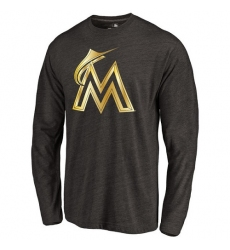 MLB Miami Marlins Gold Collection Long Sleeve Tri-Blend T-Shirt - Grey