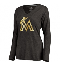 MLB Miami Marlins Women's Gold Collection Long Sleeve V-Neck Tri-Blend T-Shirt - Grey
