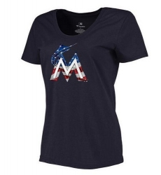 MLB Women's Miami Marlins Navy Banner Wave Slim Fit T-Shirt