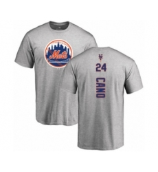 Baseball New York Mets #24 Robinson Cano Ash Backer T-Shirt