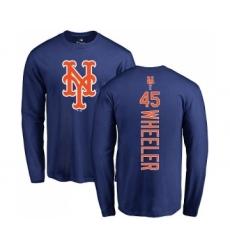 MLB Nike New York Mets #45 Zack Wheeler Royal Blue Backer Long Sleeve T-Shirt