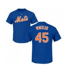 MLB Nike New York Mets #45 Zack Wheeler Royal Blue Name & Number T-Shirt