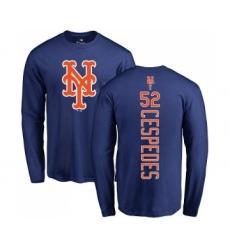 MLB Nike New York Mets #52 Yoenis Cespedes Royal Blue Backer Long Sleeve T-Shirt