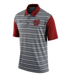 MLB Men's Washington Nationals Nike Gray Dri-FIT Stripe Polo