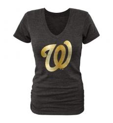 MLB Washington Nationals Fanatics Apparel Women's Gold Collection V-Neck Tri-Blend T-Shirt - Grey