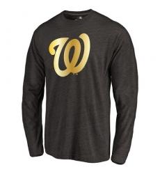 MLB Washington Nationals Gold Collection Long Sleeve Tri-Blend T-Shirt - Grey