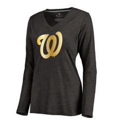 MLB Washington Nationals Women's Gold Collection Long Sleeve V-Neck Tri-Blend T-Shirt - Grey