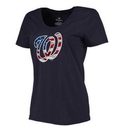 MLB Women's Washington Nationals Navy Banner Wave Slim Fit T-Shirt