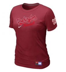 MLB Women's Washington Nationals Nike Practice T-Shirt - Red