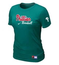 MLB Women's Philadelphia Phillies Nike Practice T-Shirt - Aque Green