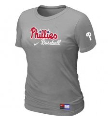 MLB Women's Philadelphia Phillies Nike Practice T-Shirt - Grey