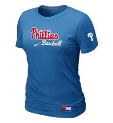 MLB Women's Philadelphia Phillies Nike Practice T-Shirt - Light Blue