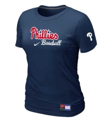 MLB Women's Philadelphia Phillies Nike Practice T-Shirt - Navy