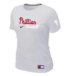 MLB Women's Philadelphia Phillies Nike Practice T-Shirt - White