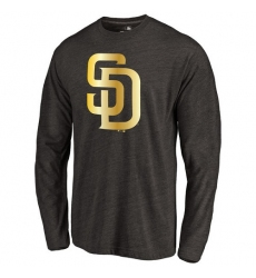 MLB San Diego Padres Gold Collection Long Sleeve Tri-Blend T-Shirt - Grey