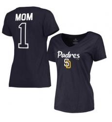 MLB San Diego Padres Women's 2017 Mother's Day #1 Mom V-Neck T-Shirt - Navy