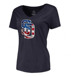 MLB Women's San Diego Padres Navy Banner Wave Slim Fit T-Shirt